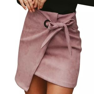 Dresses & Skirts - Pink Asymmetrical sash knotted suede skirt